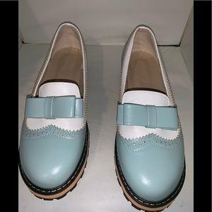 Women's Mary Jane Style Slip-On Green White Sz. 39